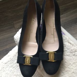 Black suede Ferragamo ladies shoes